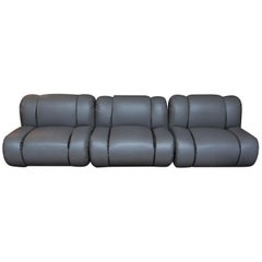 Mario Bellini Style Leather Sectional Sofa