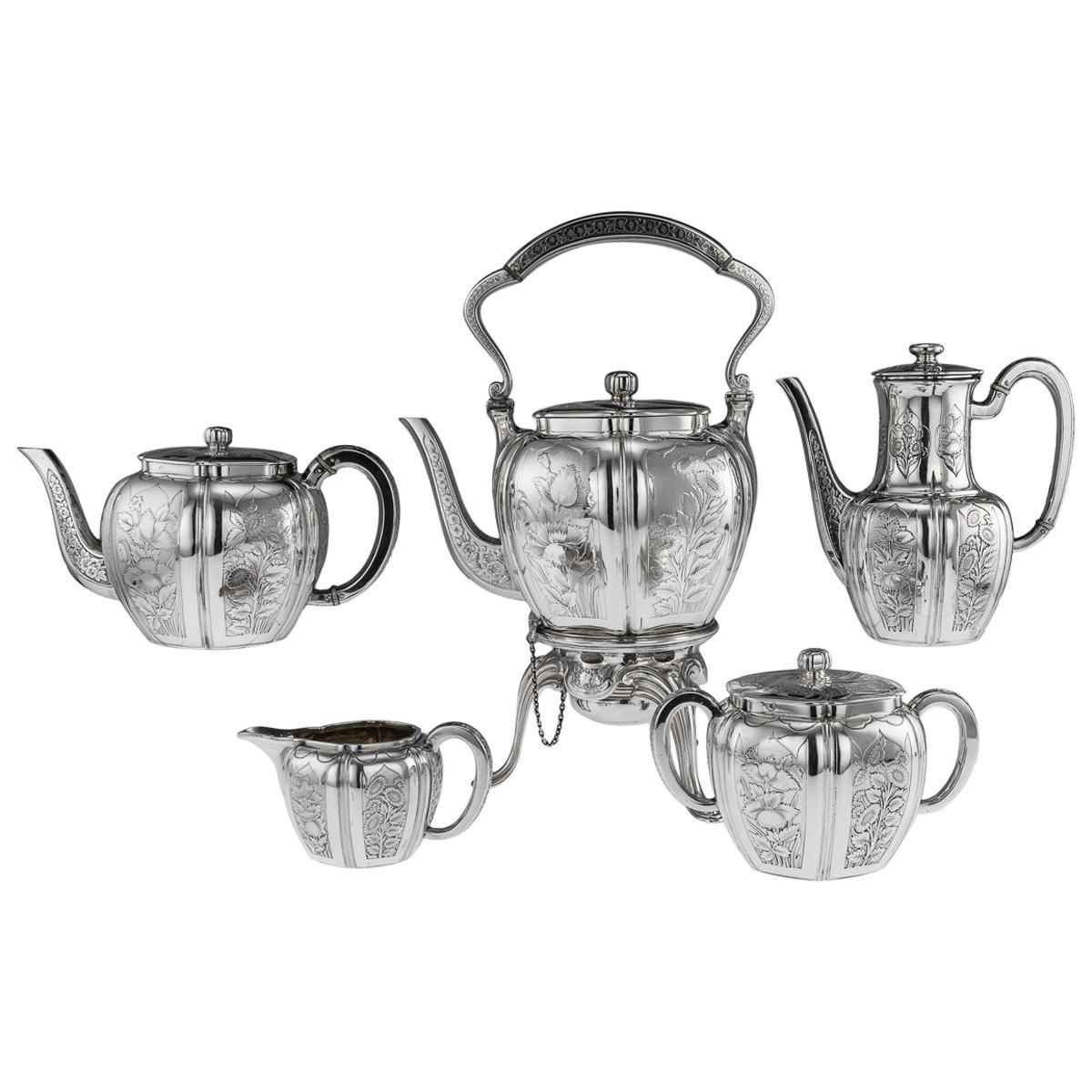 Antique 19th Century French Solid Silver Five Piece Tea Service Odiot circa 1880