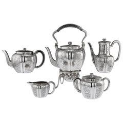 Antique 19th Century French Solid Silver Five Piece Tea Service Odiot circa 1880