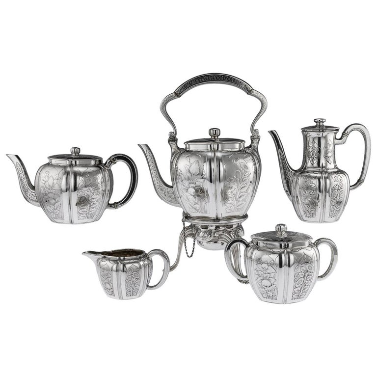 Antique 19th Century French Solid Silver Five Piece Tea Service Odiot circa 1880 For Sale