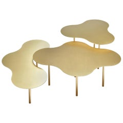 Brass Coffee Table Ensemble of 3, Sebastian Scherer