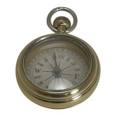 """Antique English Brass and Sterling Silver """"Pocket Watch"""" Compass, circa 1890"""