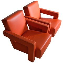 Gerrit Rietveld Leather Hermes Orange Utrecht Lounge Chairs