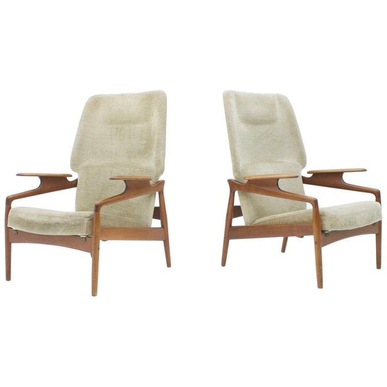 Pair of Reclining Lounge Chairs by John Bone, Denmark, 1960s