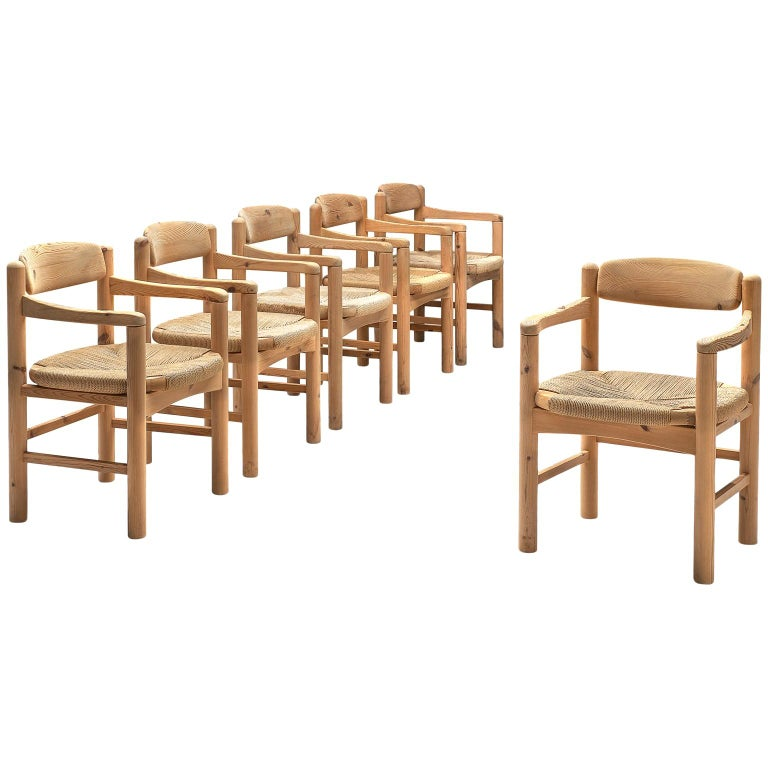 Rainer Daumiller Set of Six Armchairs in Solid Pine and Cane For Sale