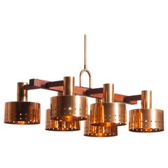1960s, Red Copper and Teak Chandelier Designed by Tapio Wirkkala for Idman