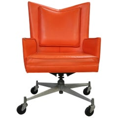 Original Midcentury Orange Vinyl Paul McCobb Executive Office Chair Rare