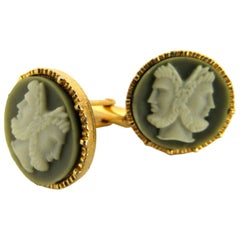 Mid-Century Modern Neoclassical Cameo Cuff Links, 1960s