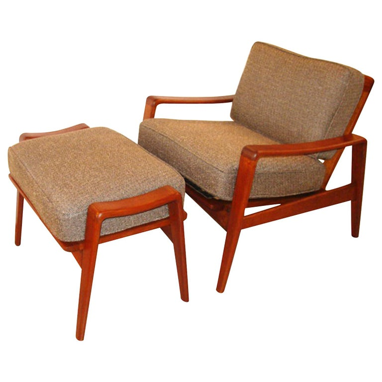 Vintage Arne Wahl Iversen Chair and Ottoman Two Sets For Sale