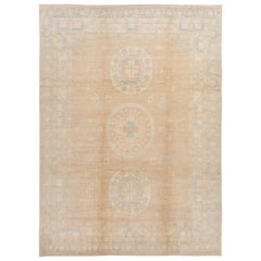 Contemporary Tan and Blue Khotan-Style Wool Area Rug