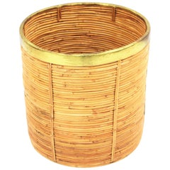 Large Midcentury Gabriella Crespi Style Brass and Rattan Bamboo Round Planter