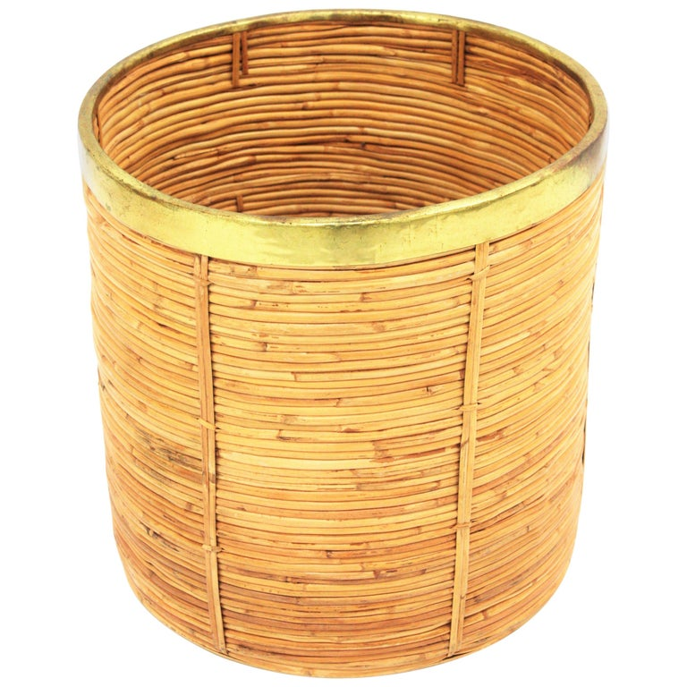 Large Midcentury Gabriella Crespi Style Br And Rattan Bamboo Round Planter For