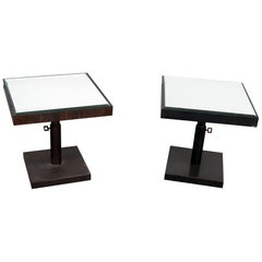 Companion Pair of Industrial Style Glass Top End Tables