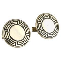 Mid-Century Modern Greek Key Gold Cuff Links, 1960s