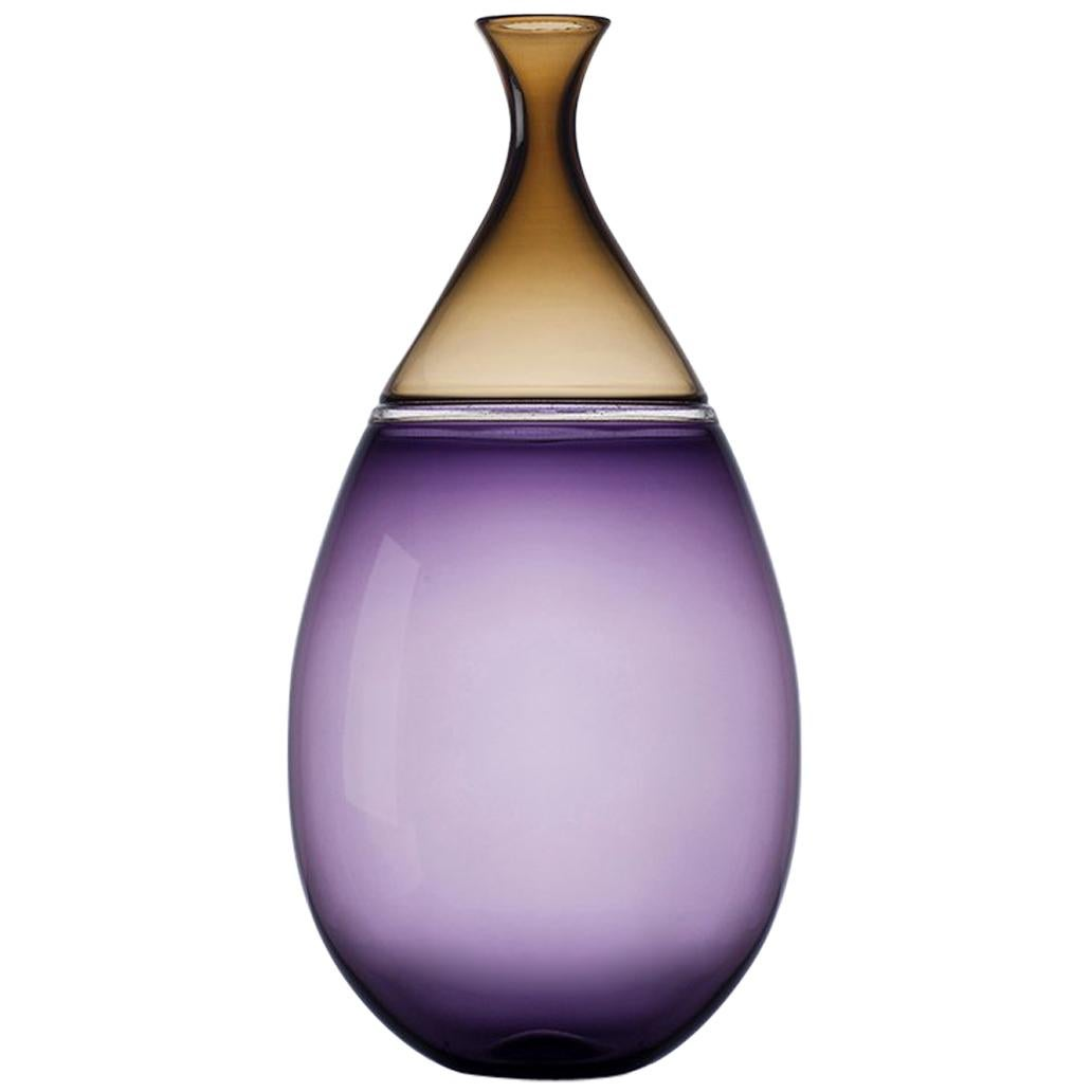 Modernist Hand Blown Glass Vase in Indigo and Smoky Topaz by Vetro Vero