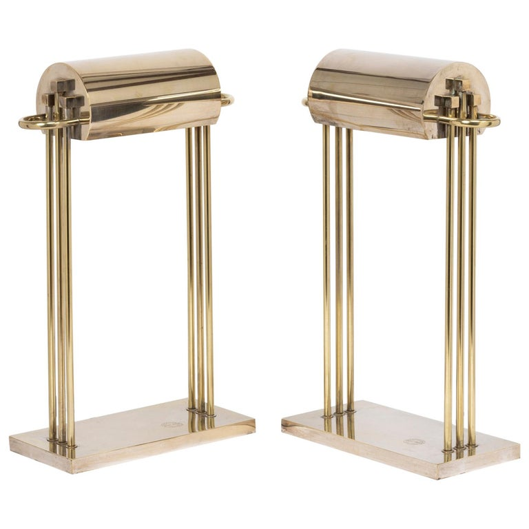 Exceptional Pair of Brass Table Lights by Marcel Breuer, Paris Exhibition, 1925 For Sale
