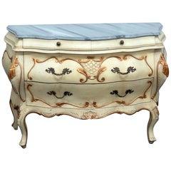 Italian Faux Marble Painted Florentine Bombe Commode Dresser Buffet