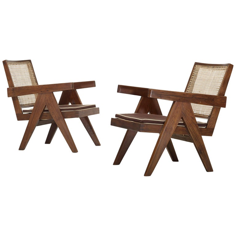 Pair of Pierre Jeanneret Easy Chairs For Sale