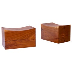 Walnut Pillow Benches on Casters by Chris Lehrecke