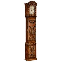 Antique Swedish Allmoge Painted Grandfather Clock