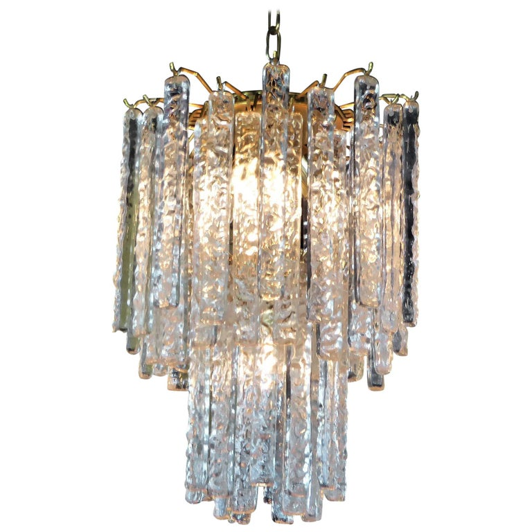 1960s Modernist Mazzega Murano Textured Crystal Chandelier For Sale