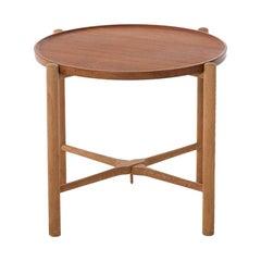 Danish Modern Teak and Oak Round Side Table by Hans J Wegner