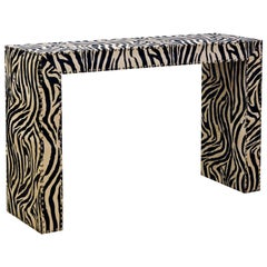 Custom Made Mid-Century Modern Console Table with Nailhead Trimmed Zebra Print