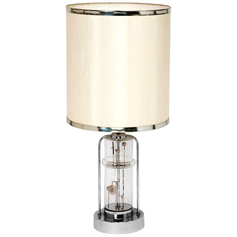 Stunning Glass and Chrome Kinetic Table Lamp , France, 1970s For Sale