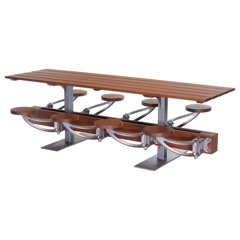 Awesome Outdoor Communal Dining Table Set With Attached Swing Out Seats Ibusinesslaw Wood Chair Design Ideas Ibusinesslaworg