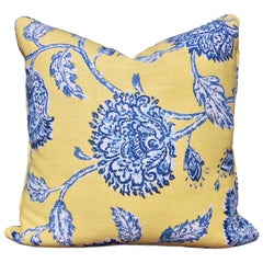 Custom Made Square Yellow and Blue Floral Pillow