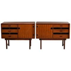 Pair of Midcentury Italian Teak Side Cabinets