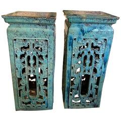 Pair of Chinese Turquoise Stands