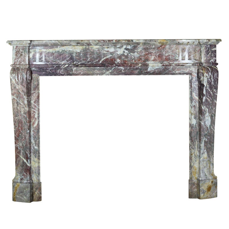 19th Century Louis XVI Style French Marble Antique Fireplace Surround For Sale