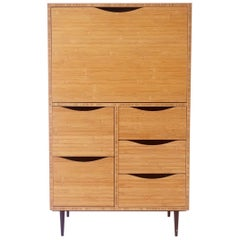Bamboo Secretary Cabinet Desk with Turned Bronze Legs and Bronze Hinges