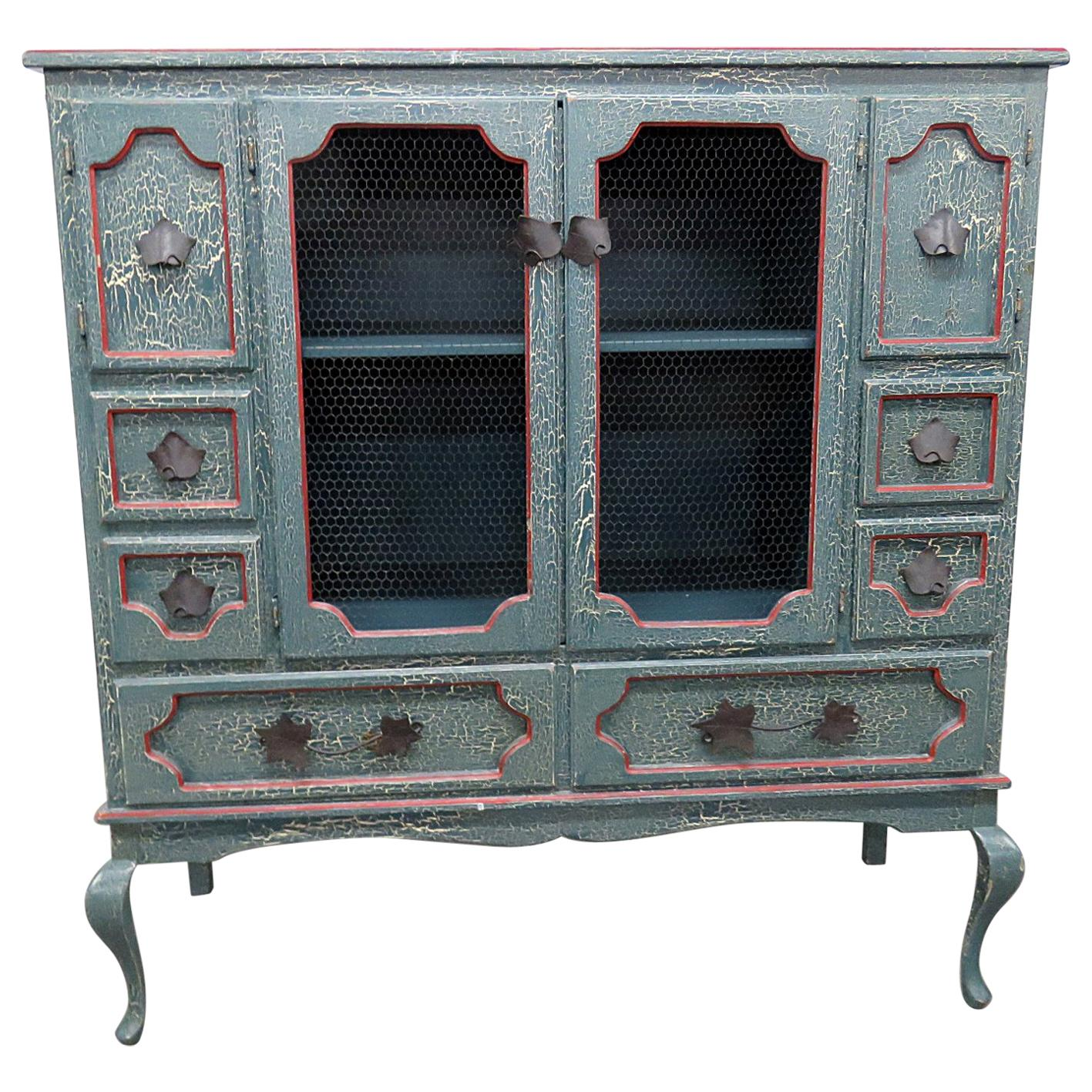 Distressed Painted Primitive Cabinet