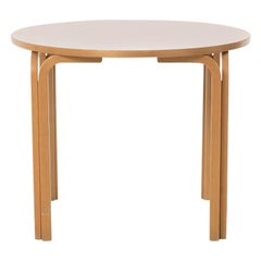 Scandinavian Modern Round Dinette Table with Birch Frame & White Laminate Top
