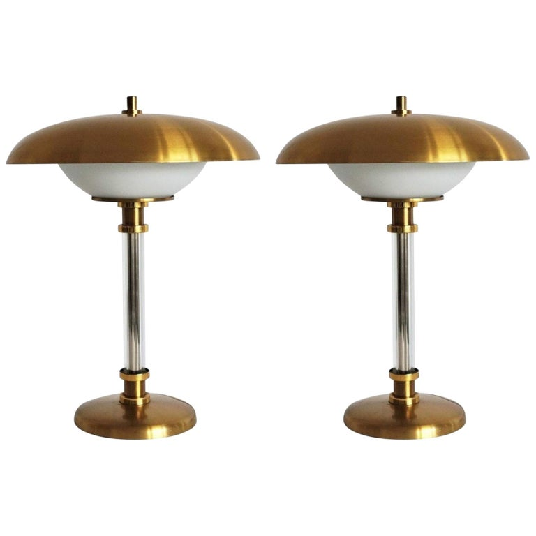Pair of Brass Glass Two-Light Tabe Lamps by Maison Lucien Gau, Paris, 1970s For Sale