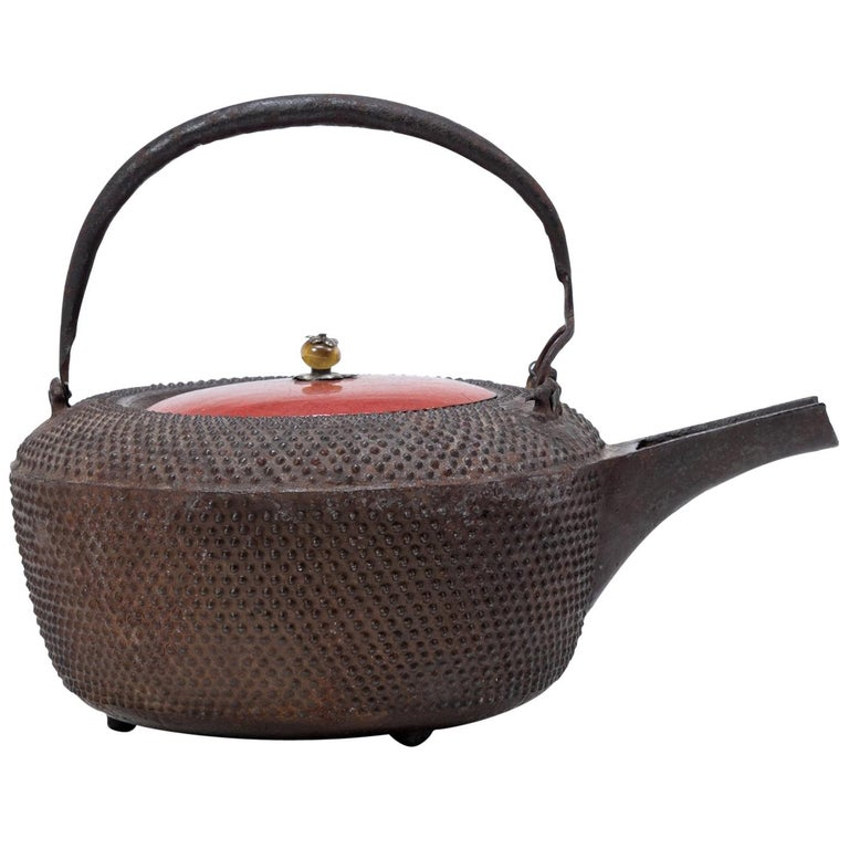 Japanese Iron Tetsubin with Red Lacquer Lid, c. 1900 For Sale