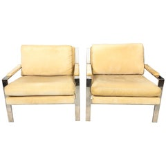 Pair of International Style Chrome Armchairs