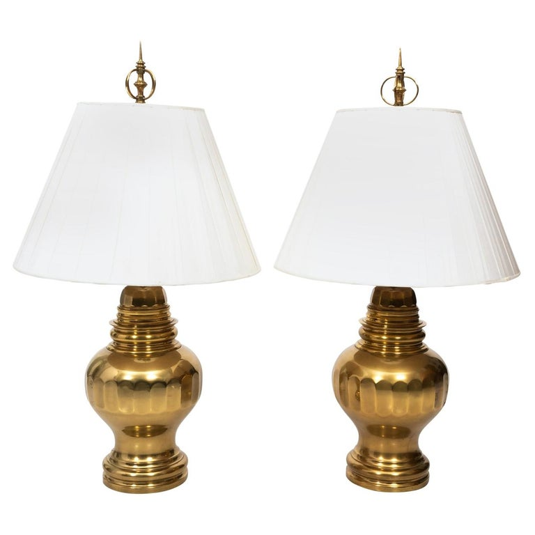 Pair of Brass Table Lamps For Sale