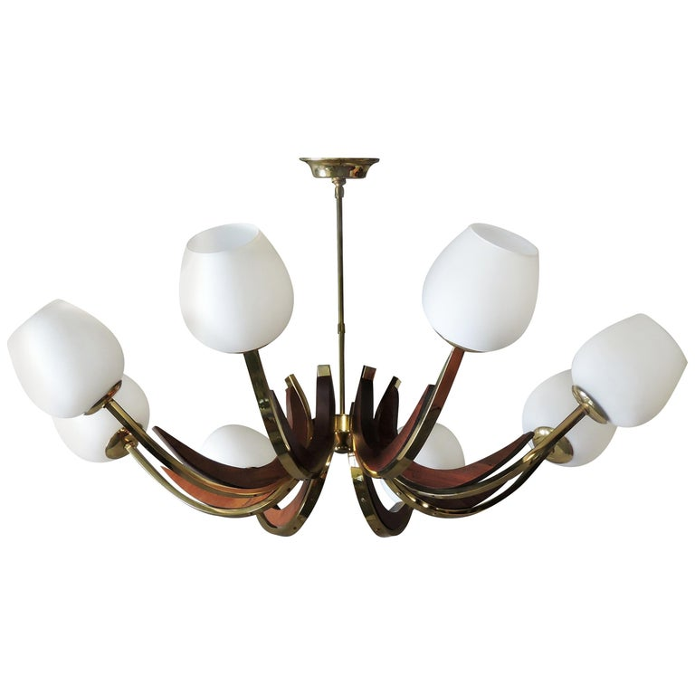 Mid-Century Modern Walnut, Brass, and Glass Eight-Light Chandelier For Sale