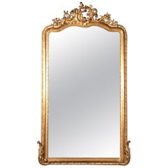 Large 19th French Louis XV Style Gilt Overmantle Mirror with Beveled Glass