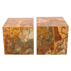 Pair of Cubed Marble Side Tables