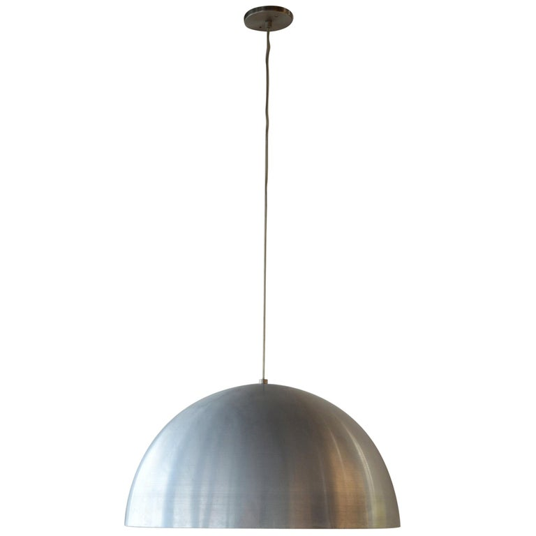 Pair of Large Dome Pendant Lights For Sale