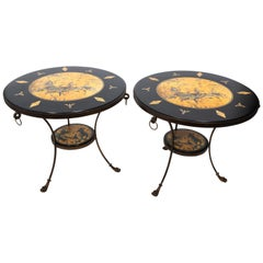 Pair of Round Decoupage Chinoiserie Center Tables