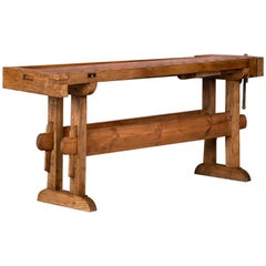 Antique Danish Carpenter's Workbench or Console Table