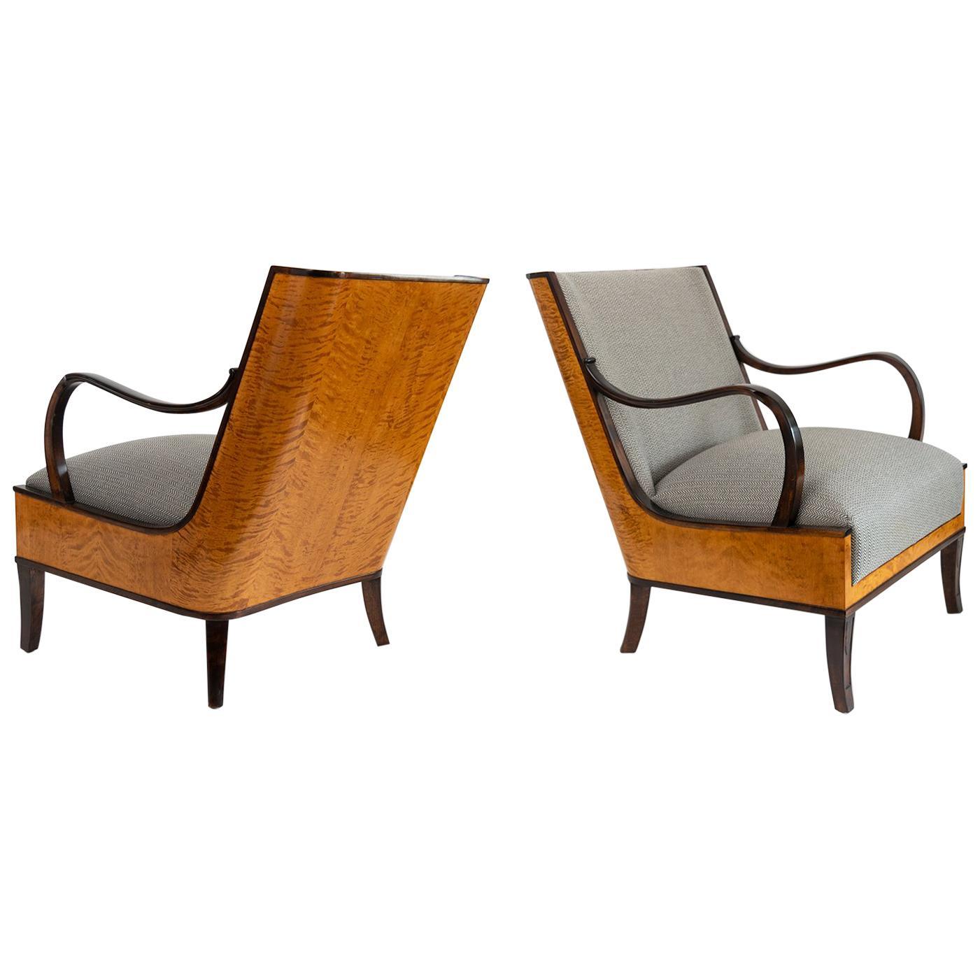 Erik Chambert Swedish Art Deco Pair of Lounge Chairs with Flame Birch Veneer