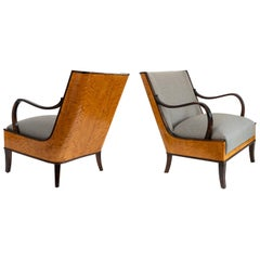 Erik Chambert Swedish Art Deco Pair of Lounge Chairs with Flame Birch Veneer