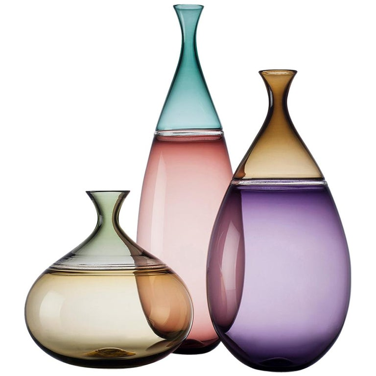 Colorful, Modernist Hand Blown Art Glass Statement Vase Collection by Vetro Vero For Sale