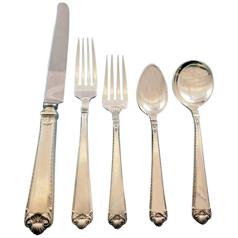 George II Rex by Watson Sterling Silver Flatware Dinner Size Set Service 60 Pcs For Sale